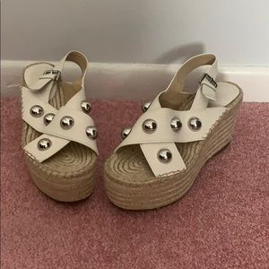 Marc Fisher Espadrille Silver Stud Sandals